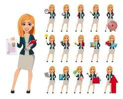 personaggio dei cartoni animati imprenditrice con i capelli biondi vettore