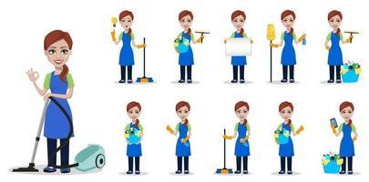 personale dell'impresa di pulizie in divisa vettore