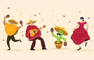 collezione di personaggi del festival cinco de mayo vettore