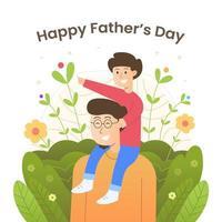 felice festa del papà con la celebrazione del figlio vettore