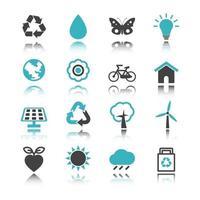 icone dell'ambiente con la riflessione vettore