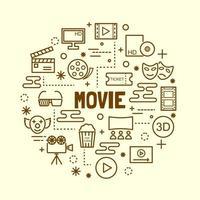 set di icone di film minimal sottile linea vettore