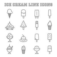 icone della linea di gelato vettore