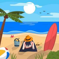 godersi l'estate in spiaggia vettore