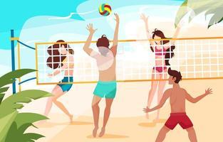 giovani che giocano a pallavolo sulla spiaggia vettore