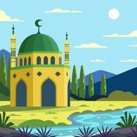la bellezza della moschea con vista naturale vettore