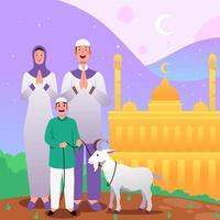eid al adha mubarak con la famiglia vettore