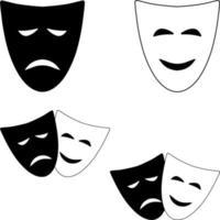 maschere teatrali di commedia e tragedia. simboli isolati di vettore in bianco e nero del teatro.