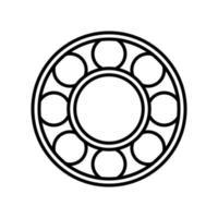 icona di contorno del cuscinetto. elemento vettoriale in bianco e nero dal set, dedicato alla scienza e alla tecnologia.