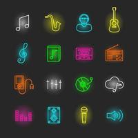 set di icone al neon di musica vettore