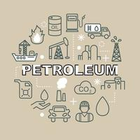 icone di contorno minimo di petrolio vettore