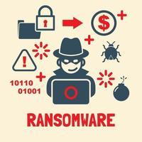 disegno vettoriale di attacco ransomeware
