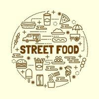 set di icone minime linea sottile di cibo di strada vettore