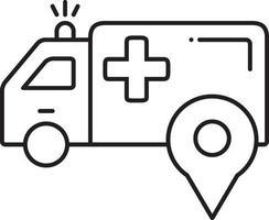 icona della linea per la posizione dell'ambulanza vettore