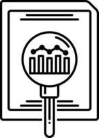 icona della linea per ricerca e analisi vettore