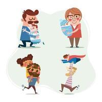 concetto di personaggi dei cartoni animati di felice festa del papà vettore