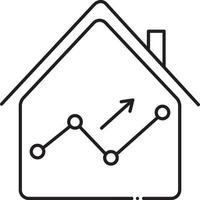 icona della linea per le statistiche immobiliari vettore