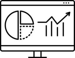 icona linea per analisi web vettore