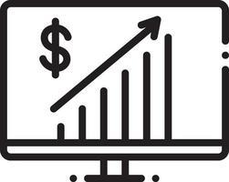 icona della linea per il progresso aziendale vettore