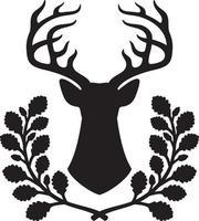 illustrazione vettoriale di cervo e corona di quercia