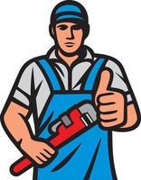 idraulico che tiene una chiave vettore