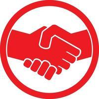 simbolo rosso della stretta di mano vettore