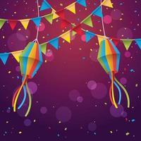 festa junina sfondo festival con coriandoli vettore