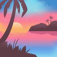 Vettore della spiaggia di notte