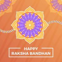 Saluti felici piani di Rakhi con Mandala Background Vector Illustration