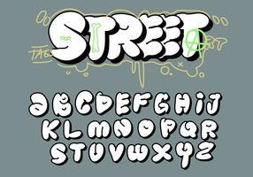 Vettore grasso di alfabeto dei graffiti della piastrina della lettera della grande bolla