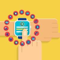 illustrazioni di smartwatch a mano vettore