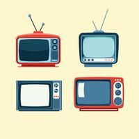 Set di articoli televisivi retrò carino vettore