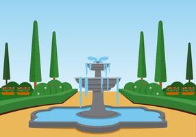 Illustrazione di vettore del paesaggio della fontana