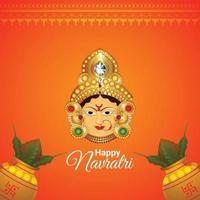 shubh navratri biglietto di auguri di celebrazione del festival indiano con illustrazione della dea durga vettore