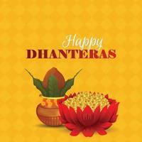 illustrazione creativa di dhanteras felici con fiore di loto moneta d'oro vettore