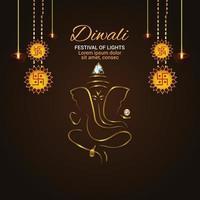 illustrazione creativa della cartolina d'auguri felice di celebrazione di diwali con l'illustrazione dorata di ganesha vettore