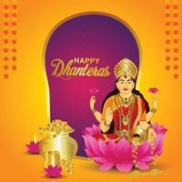illustrazione vettoriale della dea laxami per la celebrazione felice dhanteras