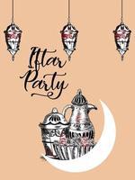 illustrazione di tiraggio della mano del poster di celebrazione del partito iftar vettore