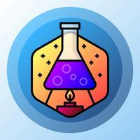 Icona di tecnologia di scienza boccetta chimica vettore