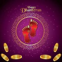 felice dhanteras celebrazione biglietto di auguri con moneta d'oro su sfondo viola vettore