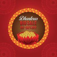 felice dhanteras biglietto di auguri festival indiano con moneta d'oro e fiore di loto vettore