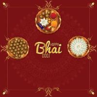 felice celebrazione bhai dooj con pooja thali e sfondo vettore