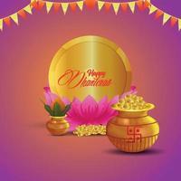 felice dhanteras celebrazione biglietto di auguri con pentola moneta d'oro con kalash vettore