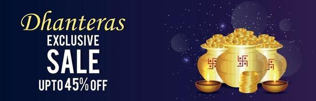 banner di vendita felice dhanteras con pentola di monete d'oro e diwali diya vettore