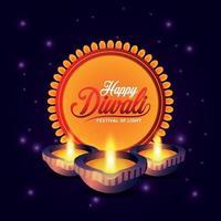 felice diwali festival della luce con diwali diya su sfondo giallo vettore