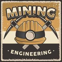 segno di poster minerario vintage retrò vettore