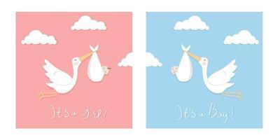 illustrazione piatta delle cicogne che trasportano il bambino. buono da usare per baby shower card o wall art per bambini. vettore