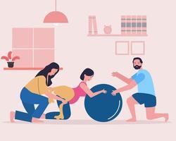 donna incinta che pratica ipnobirthing con il marito e l'istruttore vettore