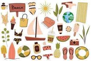 un insieme di cose estive per la spiaggia. viaggiare in un paese soleggiato. riposo estivo. illustrazione vettoriale. vettore