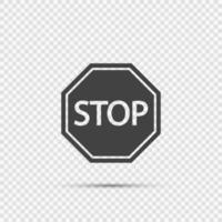Icone del segnale di stop su sfondo trasparente vettore